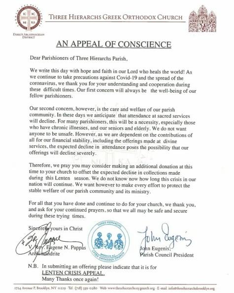 Letter from Fr. Eugene